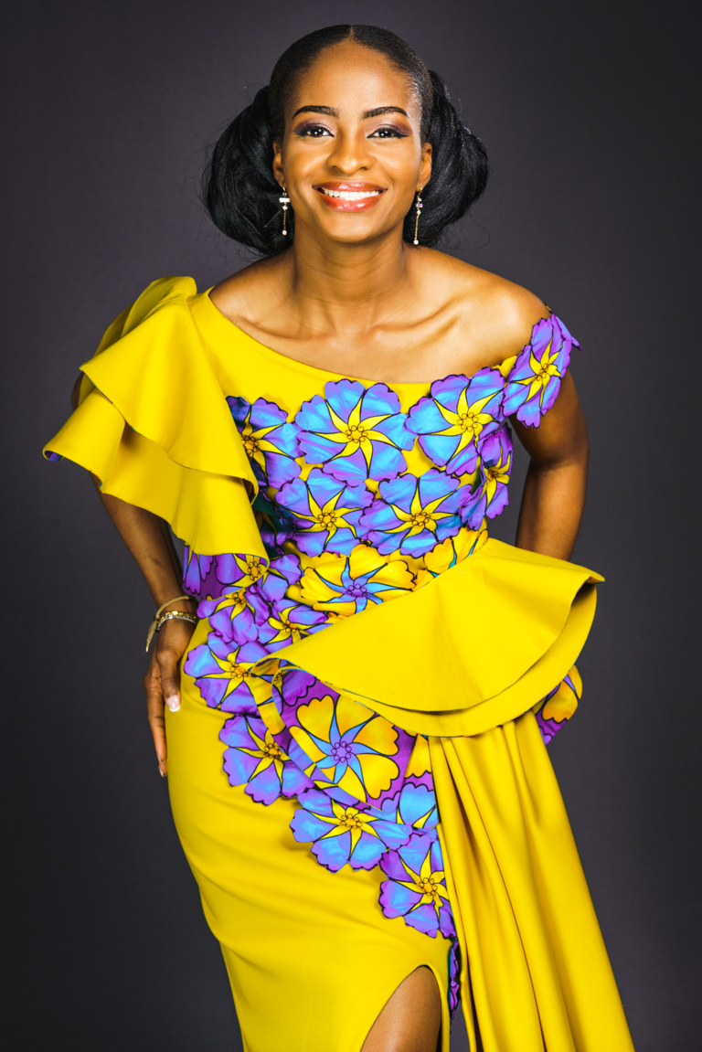 portrait with colourful dress