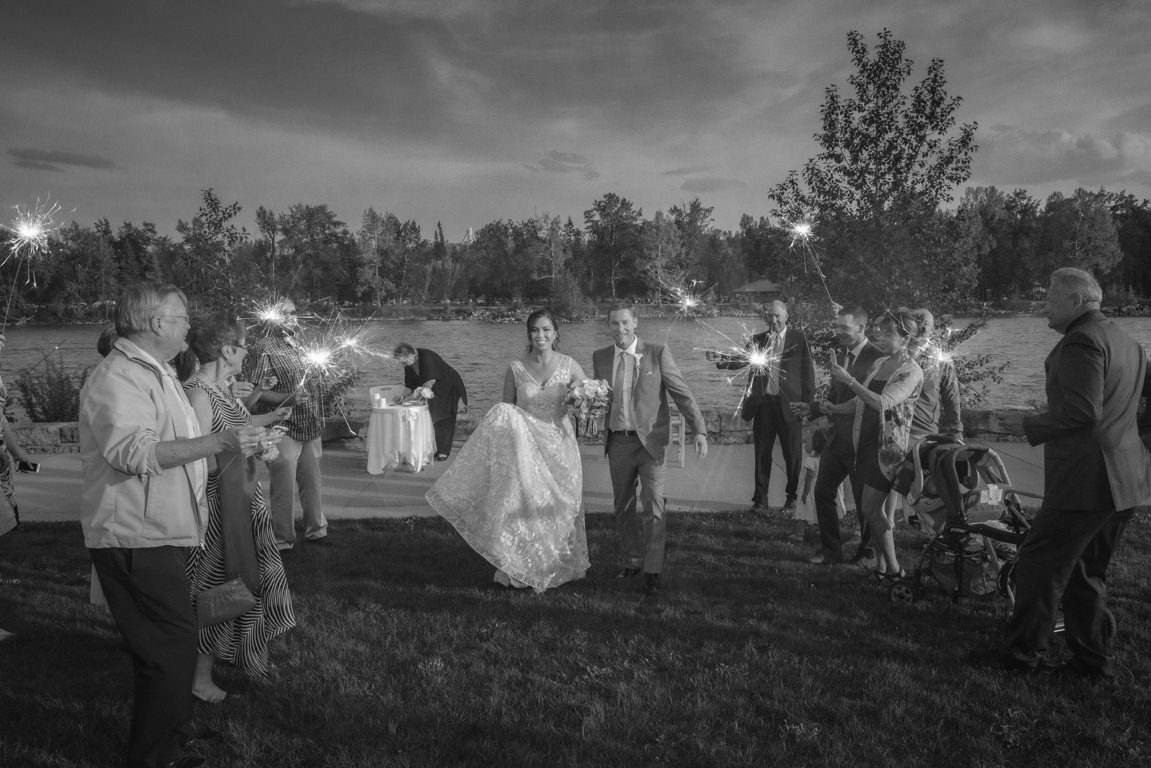 wedding couple being sent off with sparklers