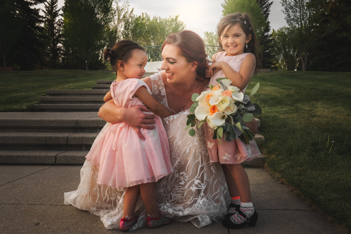 wedding bride with kids