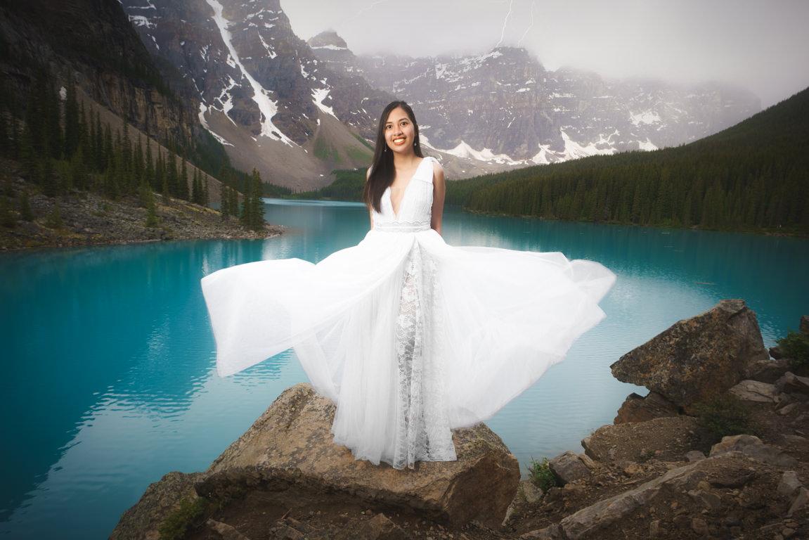 Bride at moraine lake