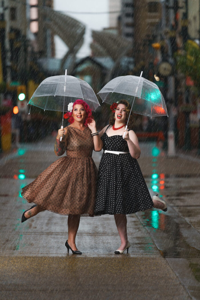 pin up girls in the rain on stephen avenue