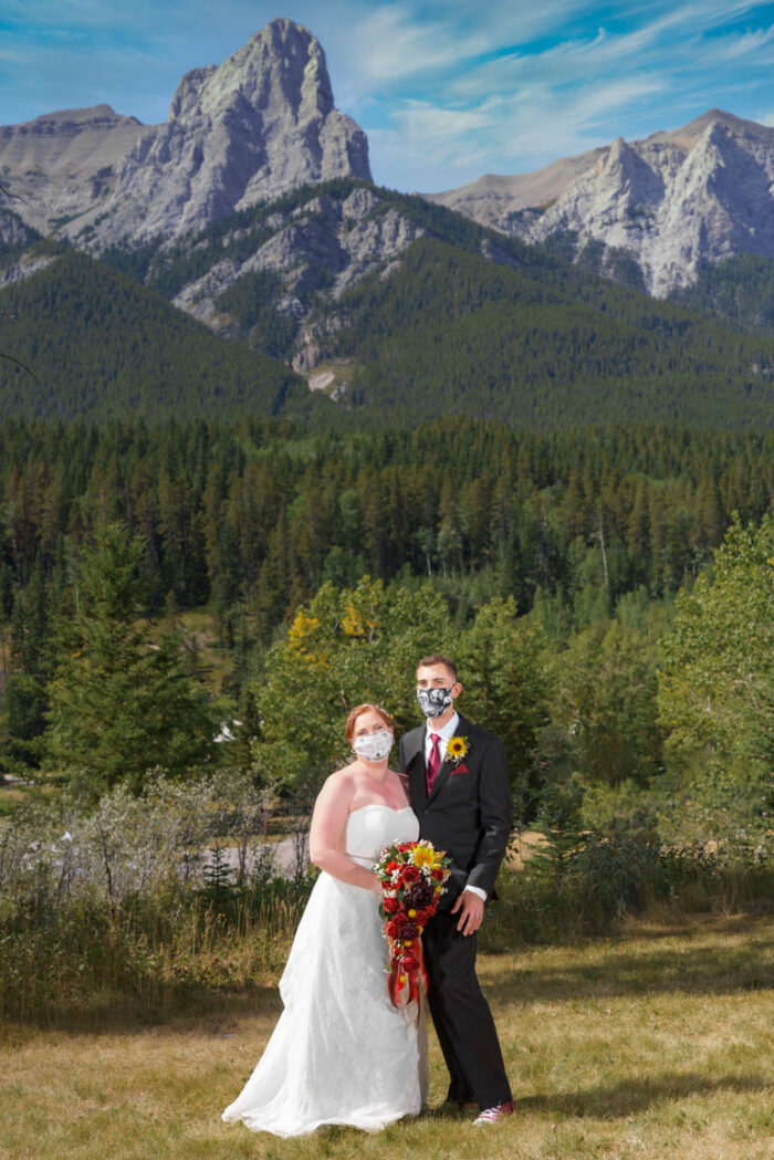 wedding couple at canmore nordic centre