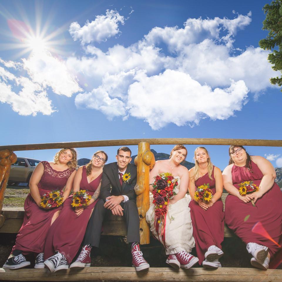 bridal party at O'Shaughnessy Falls