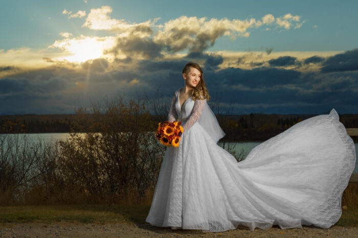 bride in front of sunset