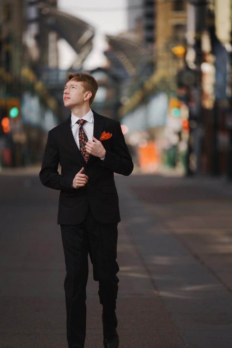 male graduation photo calgary downtown